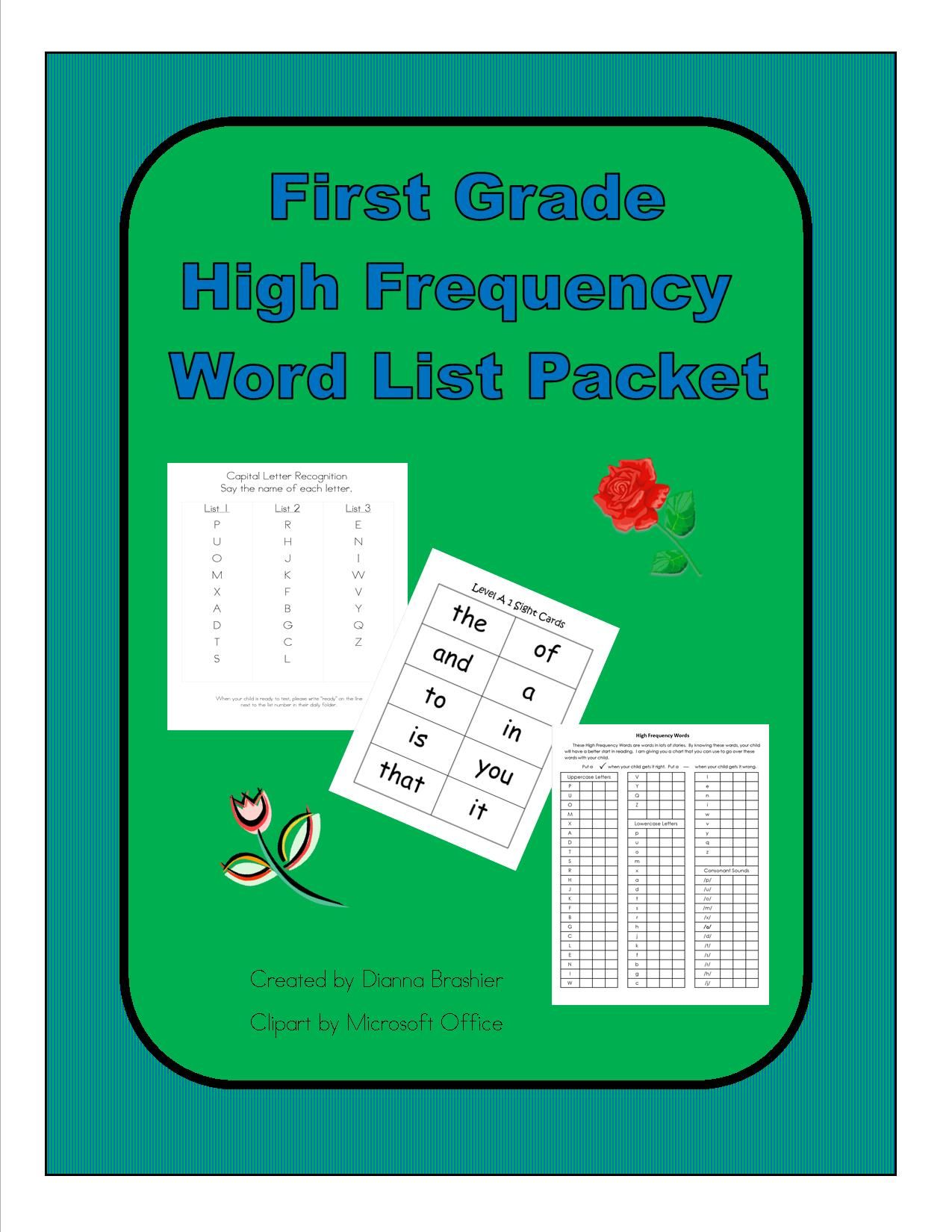 First Grade Sight Words List A Literacy First Word List Homework Packet