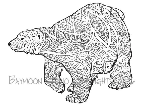 Polar Bear Coloring Page, Printable Coloring Pages, Wall