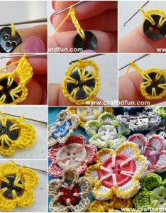 This beautiful easy crochet button flowers craft project is  great way to bring uplifting bits of color into your life make sure you like the homestead  also how diy pretty with buttons follow us on fb www rh pinterest