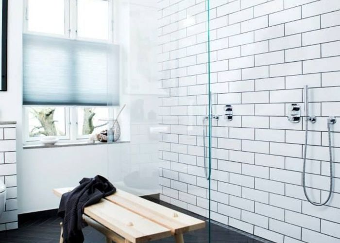 The double shower head sam wants us to have one day it looks awesome  love everything about this bathroom especially white subway tiles also wall colors for bathrooms