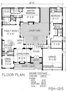 Courtyard House Plans Pinteres