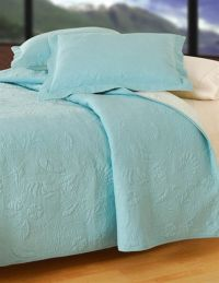 Blue Shell Quilted Matelasse Quilt & Accessories C ...