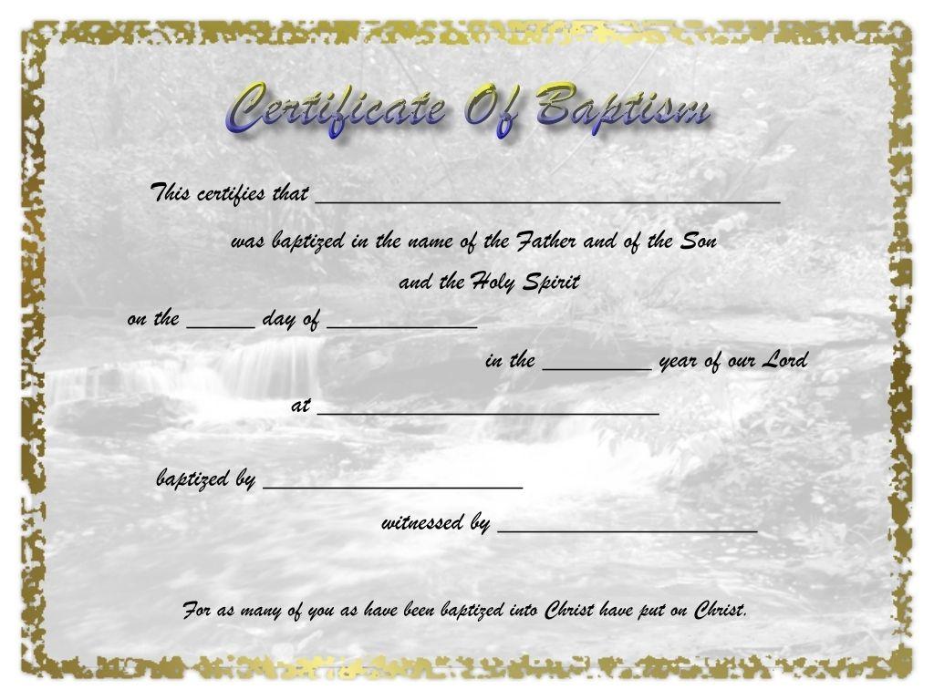Adult Baptism Certificate Template