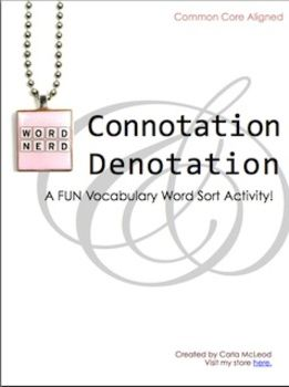 CONNOTATION & DENOTATION: FUN WORD SORT ACTVITY (Common