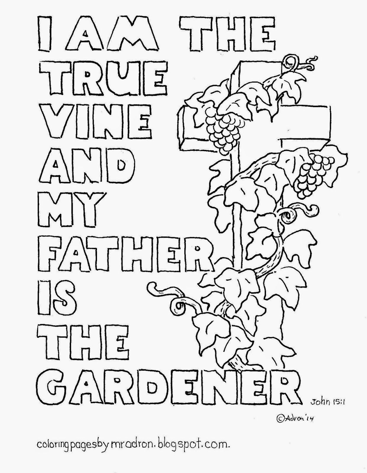 I am the True Vine coloring page. See more at my blogger