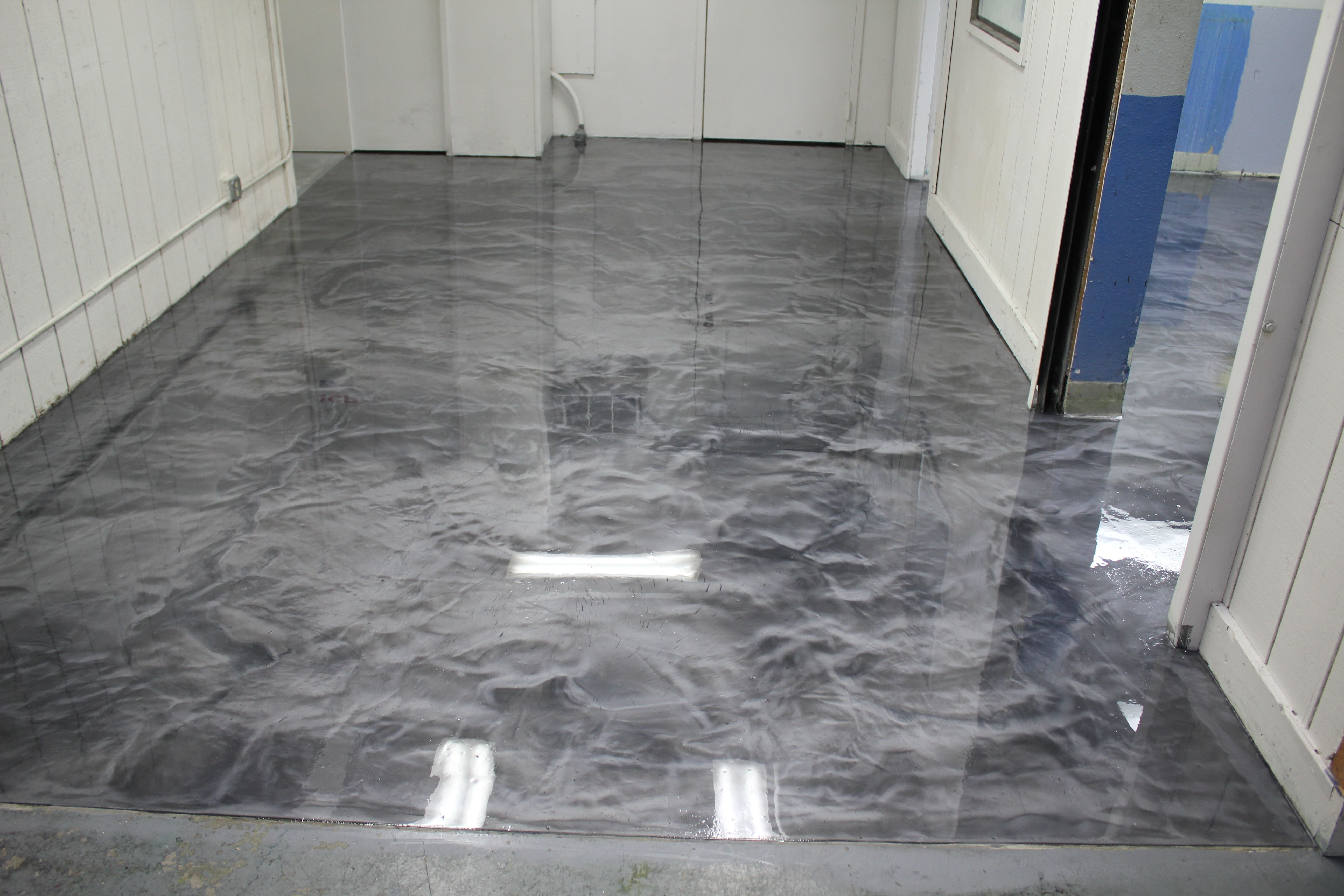 Metallic Epoxy Floor with Polyaspartic Topcoat in Box