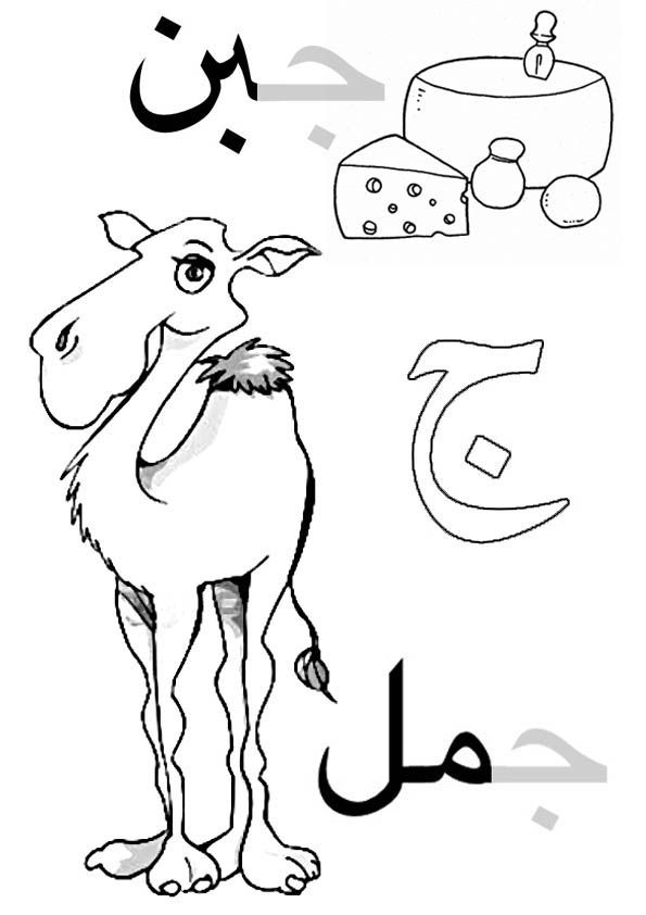 Arabic alphabet for kids, coloring page. Gim come cammello