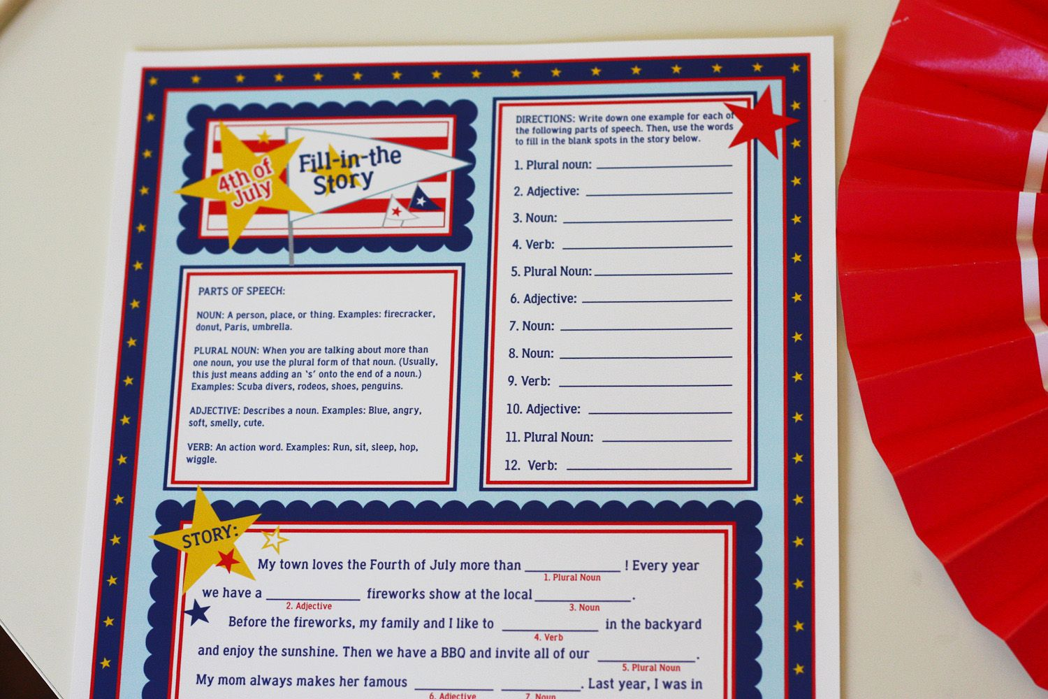 4th Of July Mad Libs Free Printable