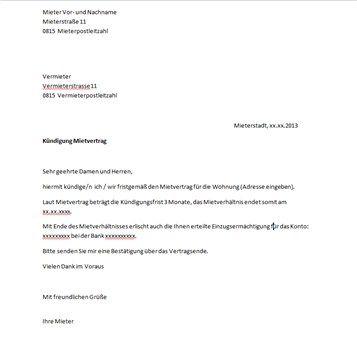 Mietervertrag Kndigung Vorlage  Hochzeit  Pinterest