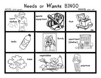 NEEDS and WANTS BINGO Game! Social Studies for