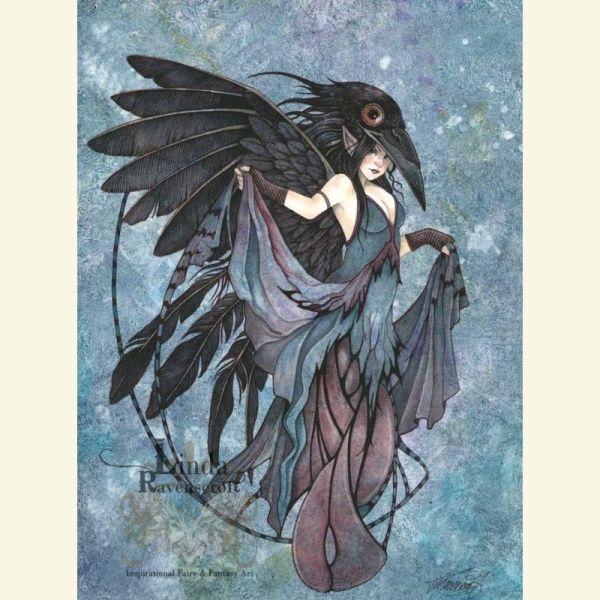 "Original Painting "" Raven"" Sold Fairies & Folk Ravens Originals"