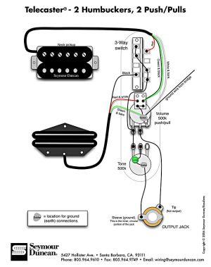 Tele Wiring Diagram, 2 humbuckers, 2 pushpulls