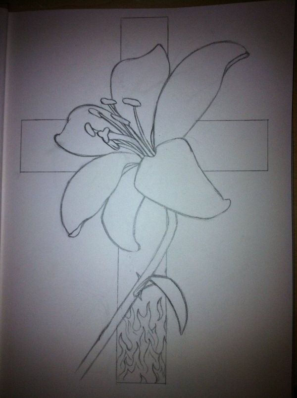 Cross Tattoo Design With Names Flower And - Outline -01