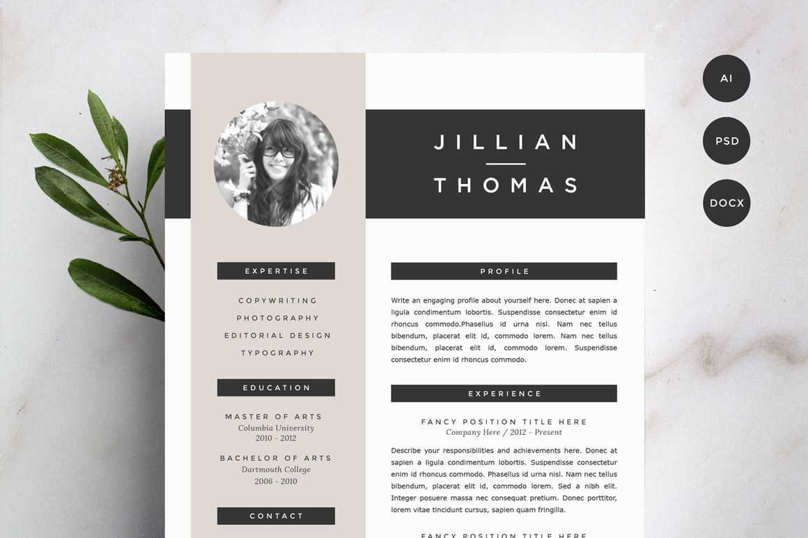 Resume Template Pinterest Resume Template 4 Pack Cv Template Resume Templates