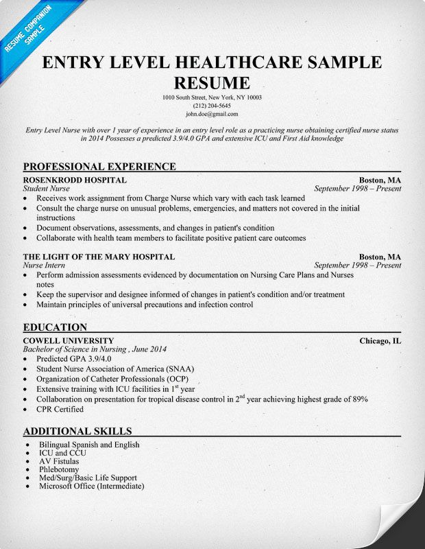 Entry Level Rn Resume Examples - Examples of Resumes - health insurance nurse sample resume