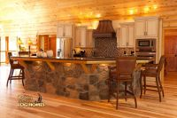 Log Home By Golden Eagle Log Homes - Island Kitchen Stone ...