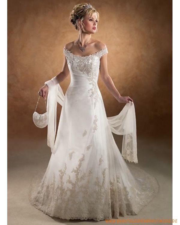2013 Neue Brautkleider Aus Satin Mit Stickerei Und Schleppe