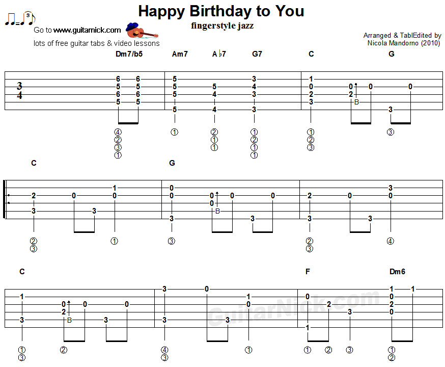 Happy Birthday Acoustic Guitar Notes