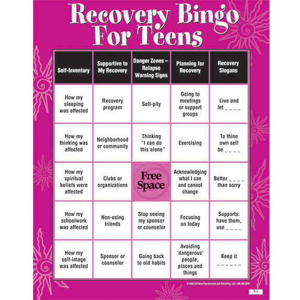 Recovery Bingo Game For Teens Addiction & Recovery