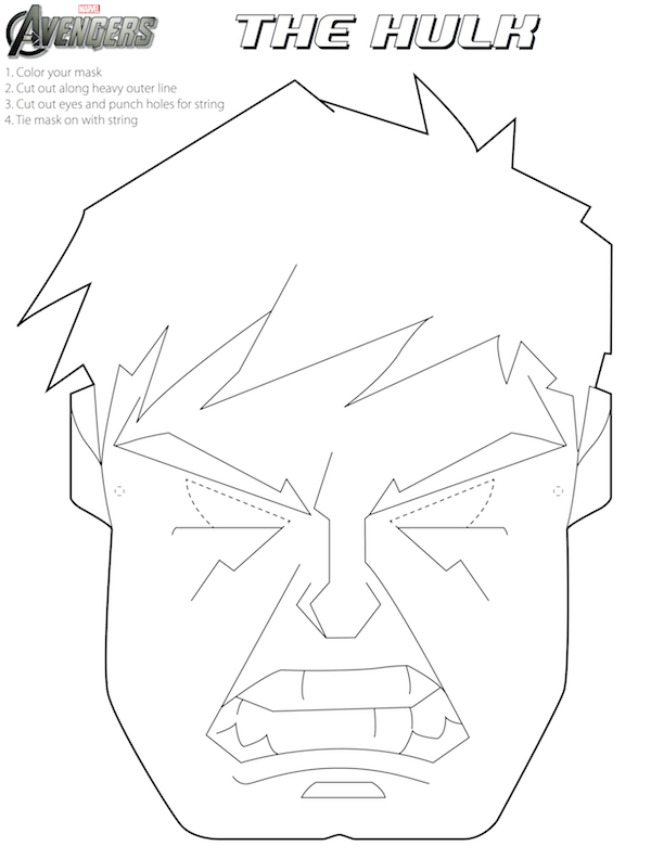 Free Avengers Halloween Masks to color (fun for an