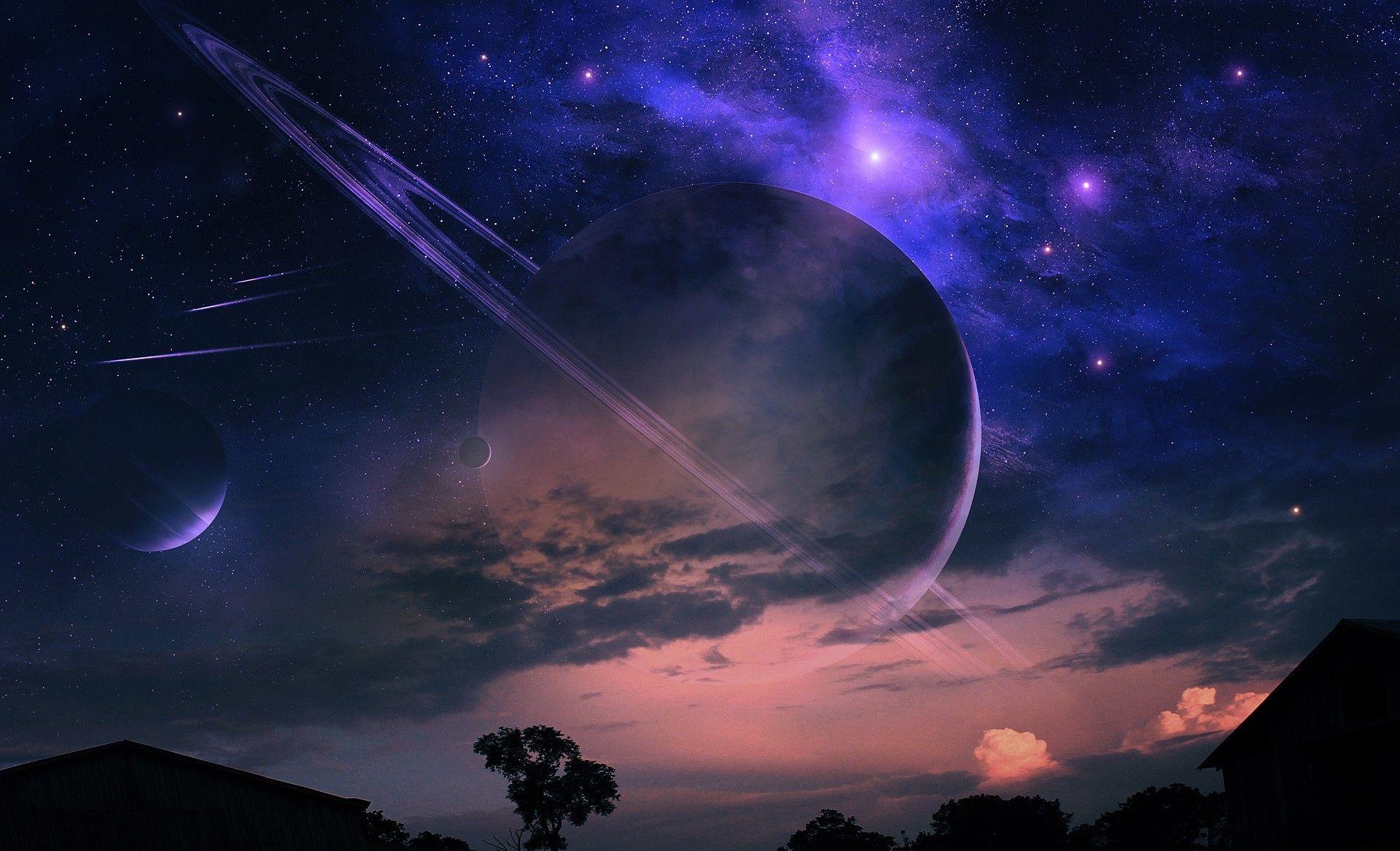 sci fi fantasy landscape | landscape night house tree cloud nebula