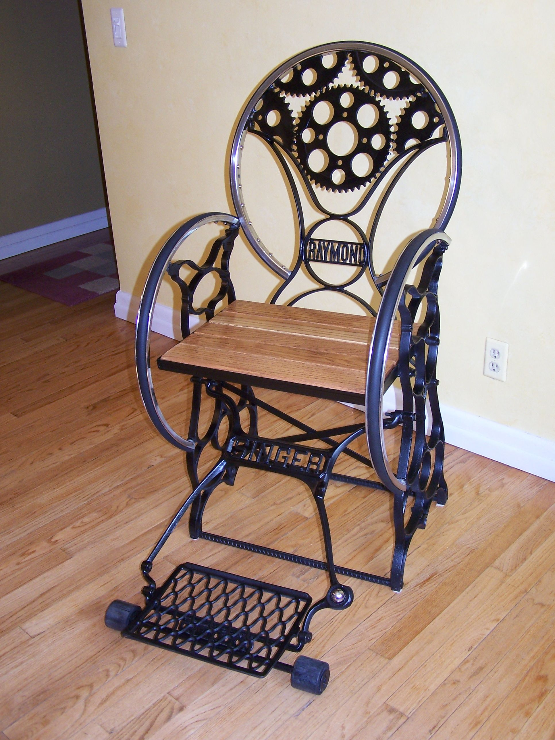 chair steel base with wheels exercise ball desk reviews custom fabricated steampunk cast iron sewing