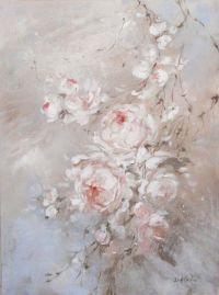 Shabby Chic Romantic Blush Roses Original Painting by Debi