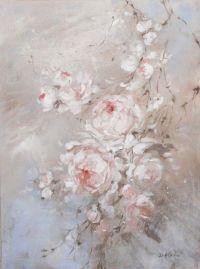 Shabby Chic Romantic Blush Roses Original Painting by Debi ...