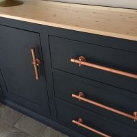 Painted cabinets with copper door pulls: This makeover ...