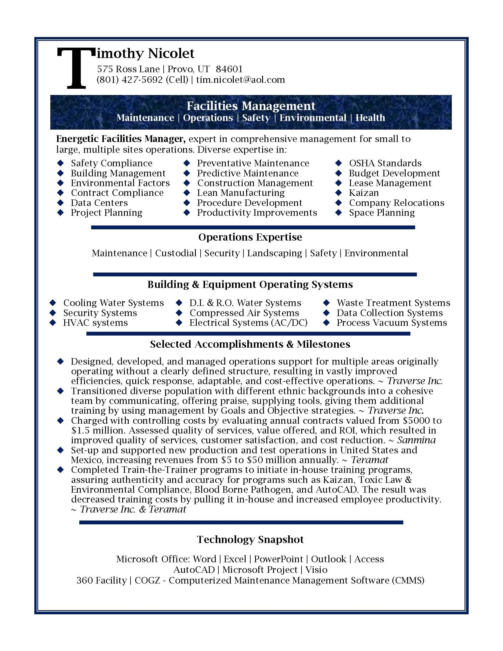 Professional Resumes Template Resume Samples Professional Facilities Manager Resume