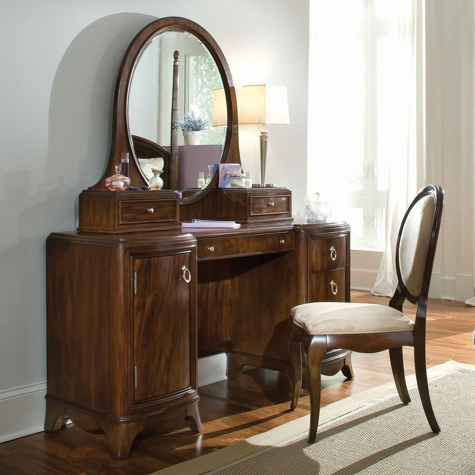 Vanity With Chair Elegant Dark Brown Wooden Antique Vanity Table Design With