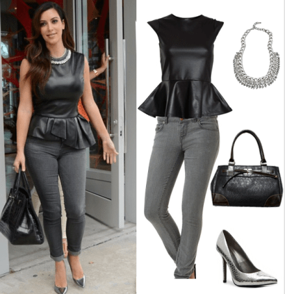 Image result for peplum top with jeans