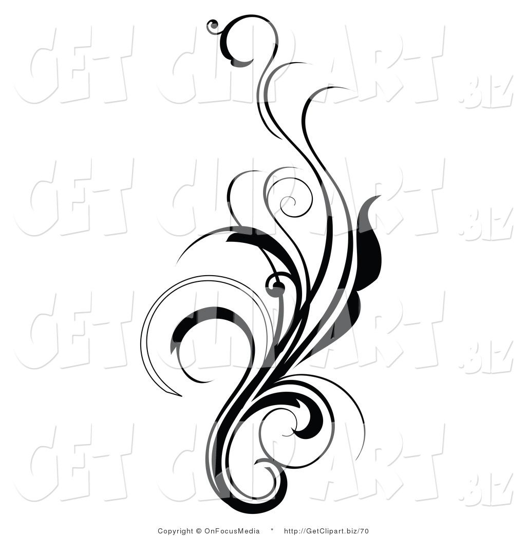 Clip Art Of An Elegant And Curly Black And White Design