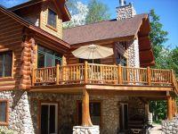 Image result for cedar deck designs log cabin | Cabin Deck ...