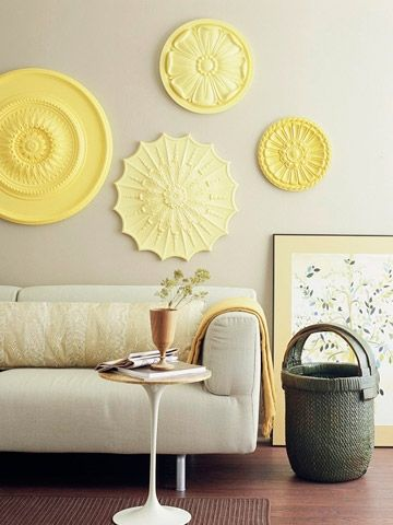 Cute idea for  big wall to fill dining room ceiling medallions also why didn    think of that diy ideas from pinterest grey rh