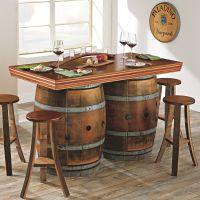 Reclaimed Wine Barrel Bar/Island Set | Wine barrel bar ...
