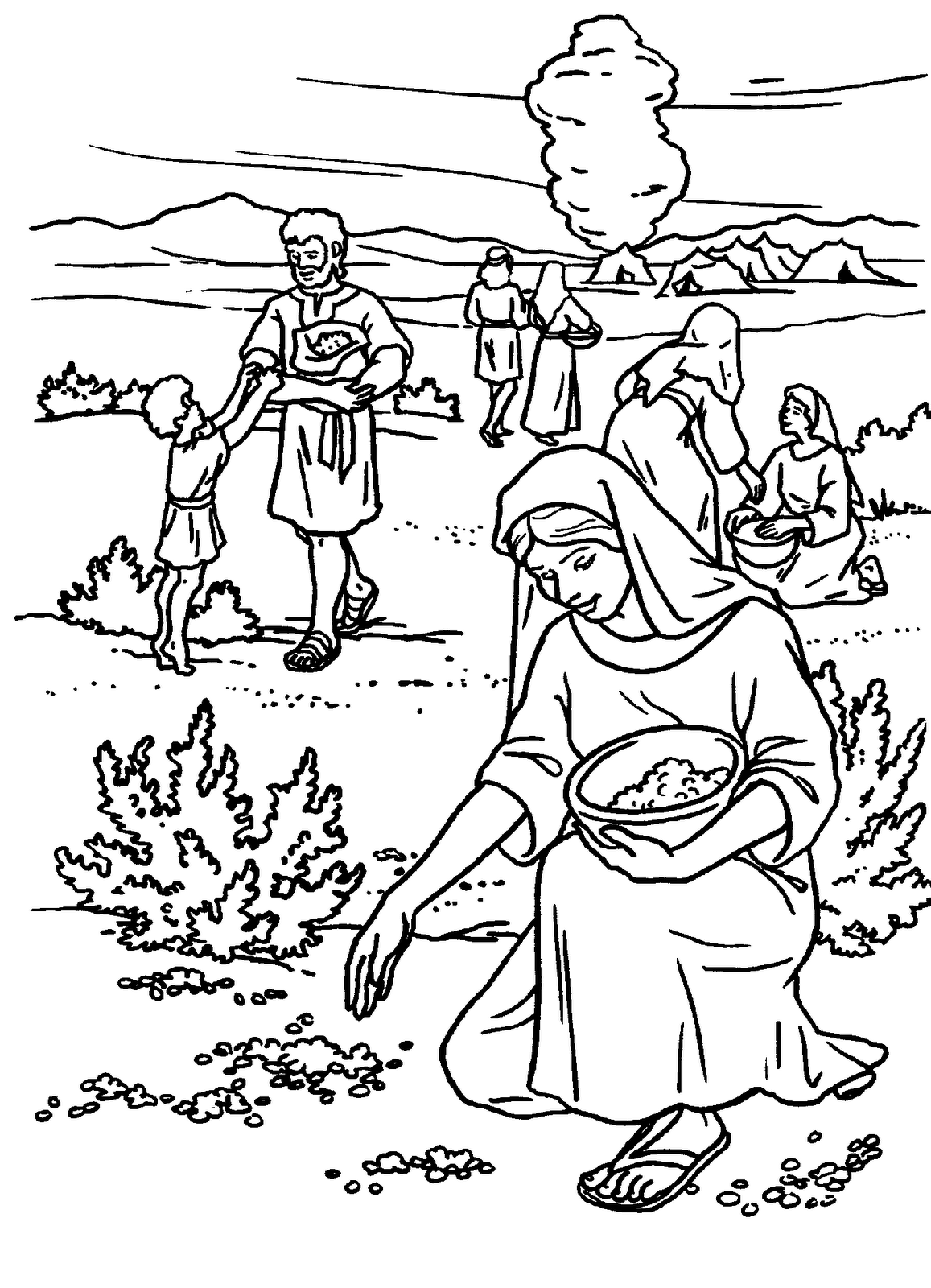 Dibujo del Pueblo de Israel recogiendo maná para colorear