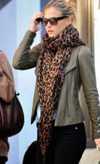 Olive Green Jacket, Black Jeans And Leopard Print scarf by