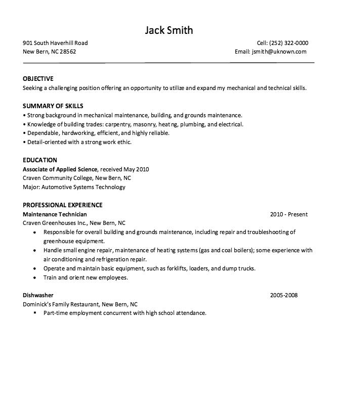 free dishwasher resume samples