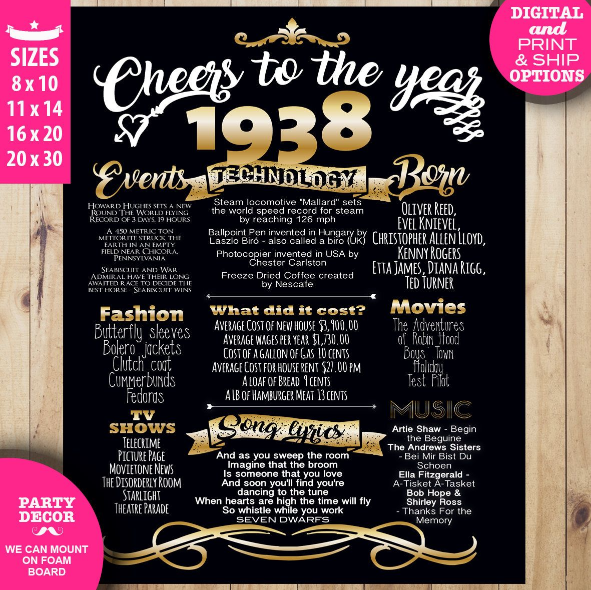 80th birthday poster ideas