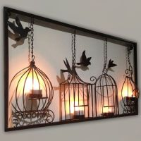 Birdcage tea light wall art metal wall hanging candle ...