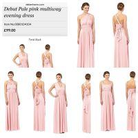 Debut pale pink multi way bridesmaid dress- Debenhams ...