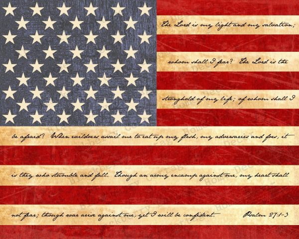 American Flag Print With Bible Verse 2016 Df