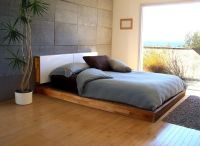 Brown Varnished Teak Wood Low Profile Bed Frame On ...