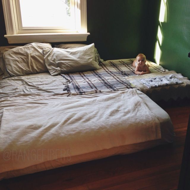 Our Cur Co Sleeping Bedsharing Arrangement Floor Bed With Queen And Crib Mattress
