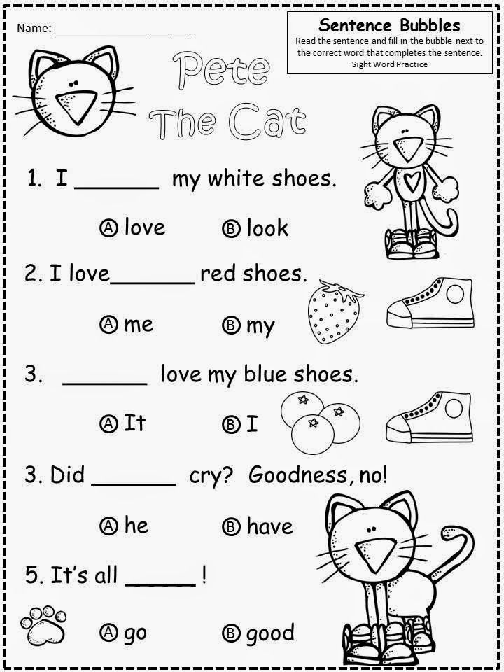 Free Pete The Cat (by James Dean and Eric Litwin) fill in