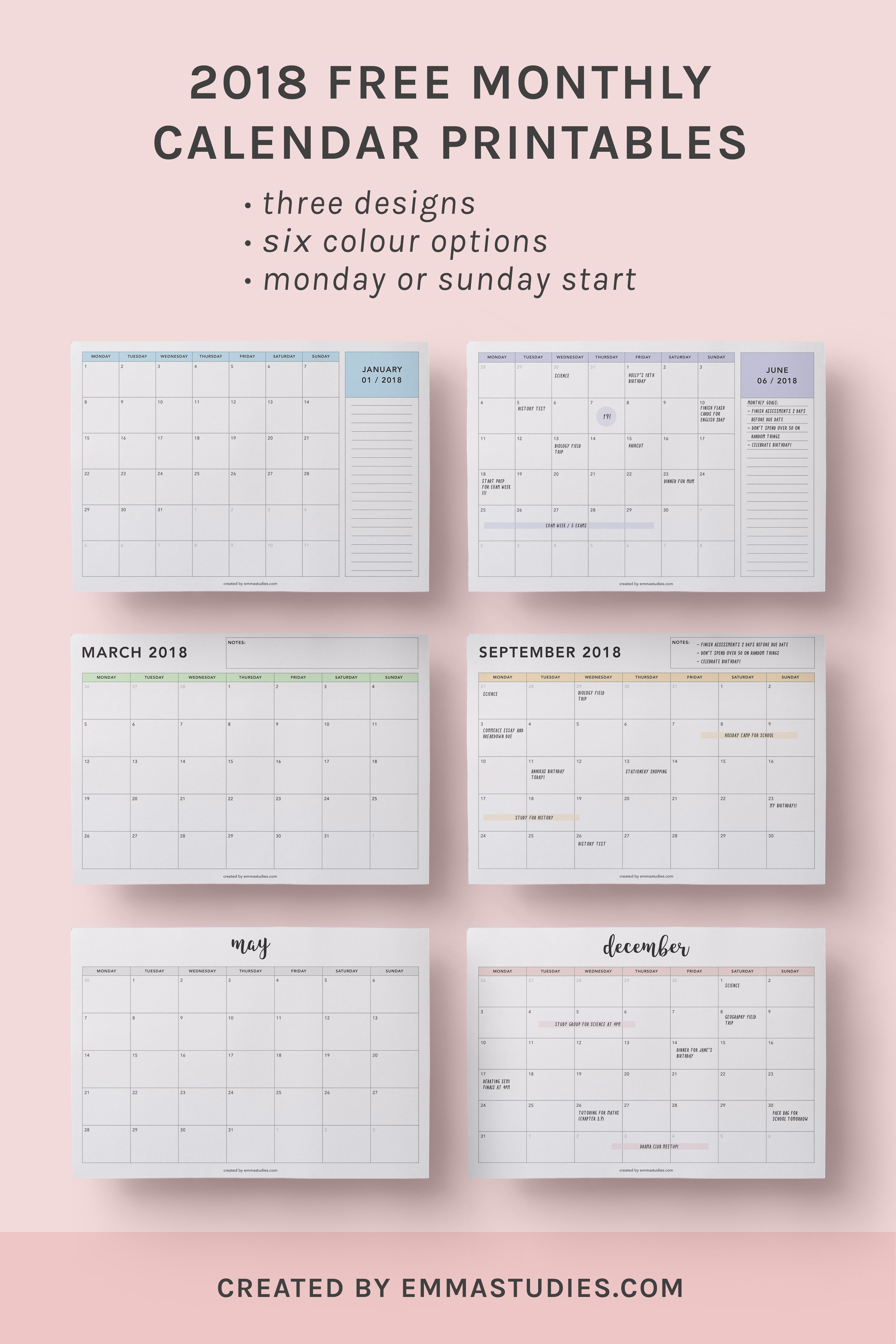 Monthly Free Printable Calendars By Emmastu S