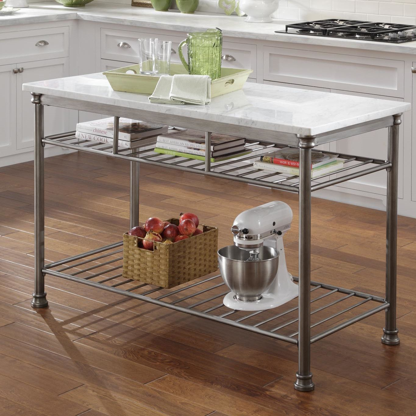 prep tables for kitchen best way to remove grease from cabinets home styles orleans table with marble top and reviews