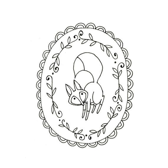 Fox Embroidery Pattern Woodland Animal by