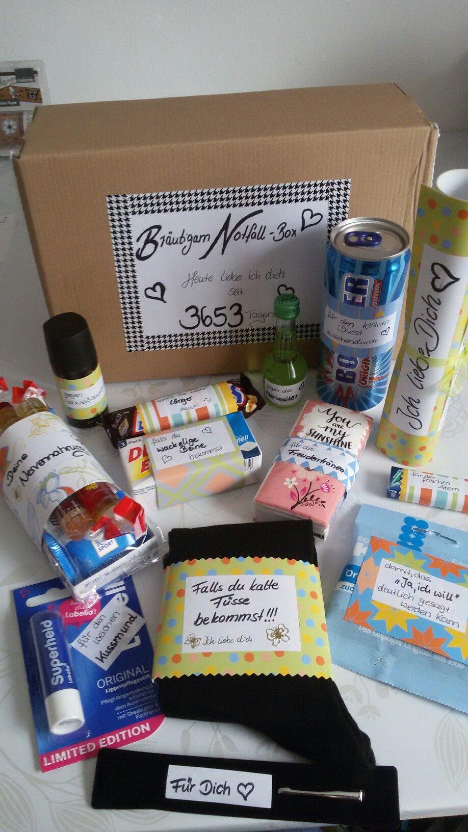 Brutigam Notfall Box  selber gemacht  Pinterest